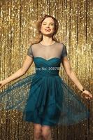 2014 New Fashion Custom Made keen-length  Prom Dresses Cocktail Dress short Evening Dress  o-neck
