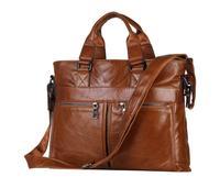 2015 new leather bag 100% genuine leather men's handbag brown wax leather briefcase Italian leather man bag Messenger