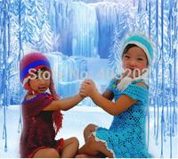 2014 Children's Knitted Hat Crochet Hats, Frozen Winter Elsa hat and Anna hat Beanie, , Baby Girls Beanie