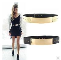 Women Belts 2014 Fashion Waistband Wide Waist Elastic Gold Mirror Metal Belt Buckle Female Rivet Belts Leather Women Punk Belt