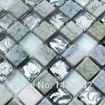 A pedra Natural mosaico azulejos de parede 3d pedra e vidro misture mosaicos cristal backsplash HM15 piso de cerâmica banheiro designs(China (Mainland))