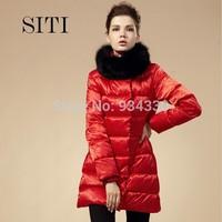 SITI S-4XL down Coat 2014 winter new Fashion brand women fox thickening long down jacket 11DC003