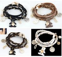 New Arrival Fashion Leather Multilayer Bracelet Initial Gold Little BEAR Charm Bracelets & Bangles for Women Men ,12pcs/lot