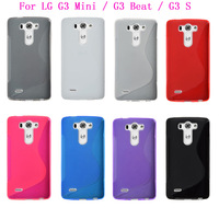 Free shipping 1Pcs S Line Soft TPU Silicone Skin Cover Case Pouch Back For LG G3 Mini / G3 Beat / G3 S Mobile Phone 8 colors