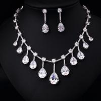 clear white  Zircon  18KWG  AAA Cubic Zircon Jewelry Set ,Earrings Necklace,Promotion,Nickel Free, Factory price