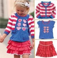 retail 2014 New Hot Selling Baby boys Girls Clothing Set autumn spring 3pcs kid Coat + T-shirt + skirt sets free shipping