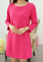 New 2014 Autumn Winter Dresses women's Slim O-neck Seventh Sleeved Long Dress Casual Plus Size Knitting Office Dress