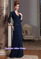 Fashion Dress Formal Custom Made 2015 New A-Line Sweetheart Chiffon Bue Floor Length Draped Mother Of Bride Dresses