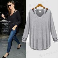 Wholesale fashion 2xl 3xl 4xl 5xl plus size women clothings cotton casual slim 2014 autumn winter t-shirts top grey black ZA