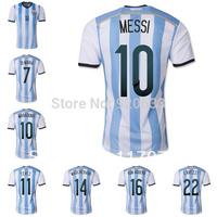 Free shipping Argentina jersey MESSI soccer jersey football cup 2014 Customized player TEVEZ KUN AGUERO soccer uniforms DI MARIA