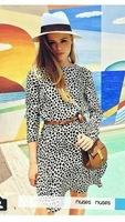 2014 autumn and winter European and American brands leopard dress long sleeve min party dress free shipping