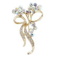 2014 Hot Sale Fashion Gold Rhinestone Flower Brooches Bouquet For Women pins