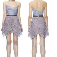 2014 The new three-dimensional hollow lace dress petal  autumn and winter patchwork evening party  dress free shipping