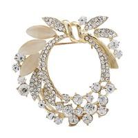 2014 NEW Fashion Hot Sale Gold Rhinestone Garland Flower Brooches Bouquet PINS