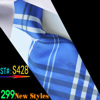 Men's Microfiber Neckties fashion tie neck ties striped plaid high quality business adult neck tie blue color