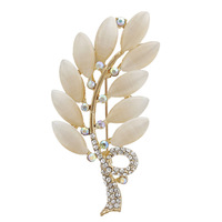 2014 new Fashion Rhinestone Opal Rose Gold Leaf Brooch Pins For Women