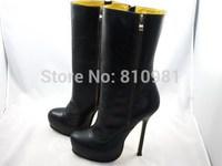 Free Shipping Women High-heeled Boots Black Platform Heels 14CM Zipper Sheepskin Sexy Brand Boots Mid-calf Boots