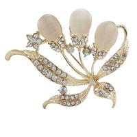 2014 Hot Sale Fashion Rose Gold Rhinestone Opal Flower Brooches Bouquet pins