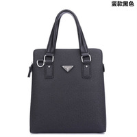 Fashion Business Casual Men's Bag Brown High Quality Computer Bag Double Zipper Leather Luxury Handbags Simple Man Shoulder Bags