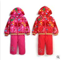 three pieces sets of newborn baby set Children Set thickened small children girls winter suits tshirt + jacket + pants 0-2t