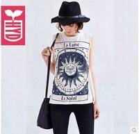 Free shipping women t shirt Maya Wind Sun printed round neck cotton sleeveless lady t-shirt