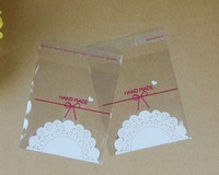 100PCS 7x10cm 7x7+3cm Hand Made Lace Cookie Packaging Bags Self Adhesive Bag OPP Jewelry Gift Poly Plastic Bag