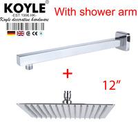 """KOYLE - 12""""  Shower head + arm showerheads chuveiro de parede chuveiros rain shower banheiro chuva espelho bathroom accessories"""