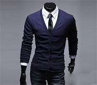 2014 New Fashion Brand multicolor autumn Slim Fit Cotton Knit Men sweater wool cardigan
