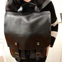 2014 Korean version of the new Japanese PU leather handbag shoulder bag retro England College Wind student backpack bag black ti