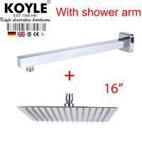"""KOYLE - 16"""" Shower head + arm showerheads chuveiro de parede chuveiros rain shower banheiro chuva espelho bathroom accessories"""