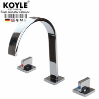 KOYLE - Polished Chrome Torneira Banheiro Two Handles Deck Mounted Bathroom Widespread Faucet.Bathroom Basin sink Mixer Tap