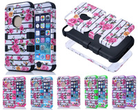 2014 Newstyle fashion women beauty flowers Stripes Shiny Dual Color Shockproof Hard Soft Cases For Apple iphone 4 4s 5 5s 5C