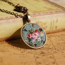 Simple floral jewelry necklace hot selling fashion Vintage time gems necklaces NS xl37
