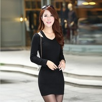 New arrival 2014 summer autumn dress sexy women pullover Long Sleeve Bodycon Party Evening Dress Black vestidos S-XL#D49713
