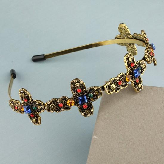 Accessories Para Cabelo Imitation Gem Stone Hoop For Hair Baroque Hairbands Retro Cross Headbands For Women(China (Mainland))
