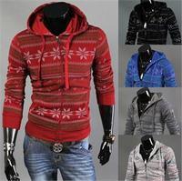 100% brand new winter snowflake hooded Men thick warm sweatshirts men cloting
