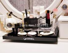 Acrylic fashion luxuary brand classic black jewelry sundries stationery storage tray makeup organizer rack table decoration