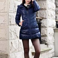 2014 New Winter Coat Women Long Slim White Duck Down Jacket casual fashion