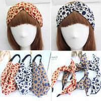 Wholesale 12pcs Mixed Colors Ears Bow Headband Printing ChiffonTurband Women's Cross Twisted Hairband Hair Accessory
