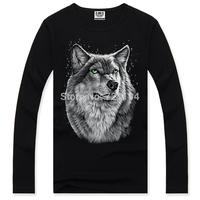 NEW HOT !2014 Three-D Fashion Brand Men clothe 3D  Black Tee shirt wolf  print man Long-sleeved T-shirt Big yards M-XXXL