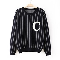 2014 women casual striped navy yellow color knitwear lady o-neck pullover sweater 455417