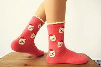 3pair Mix-color Fashion retro on the streets of cotton Christmas Bear pattern Japanese Harajuku socks