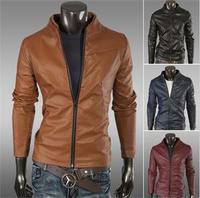 100% Brand new winter Korean style Slim Solid Men's PU Leather Jacket Coats men clothing