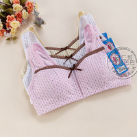 Free shipping New Girl brand bra cute vest underwear 100% cotton Breathable comfortable young girl bra