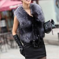 2014 new winter imitation fox fur vest short vest all-match female vest Women's winter coat large size faux silver fox fur