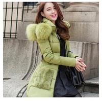 2014 fashion Korean Women Slim fur collar long coat thicker Down jackets winter warm winter coat