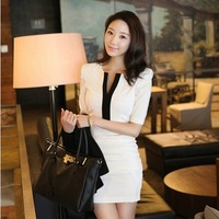New arrival 2014 summer autumn dress sexy women V-neck half Sleeve Bodycon Party Evening Dress Black white vestidosS-XXL#D49714