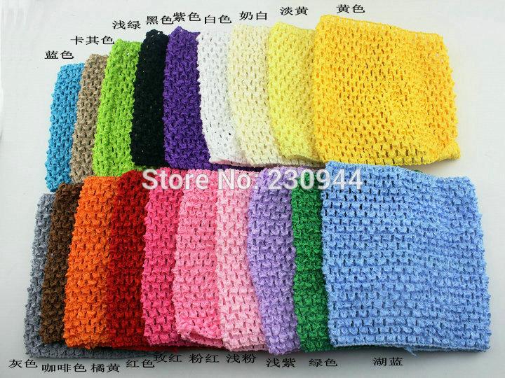 19 color mix wholesale 20 PCS/lot neonatal 14 cm X 15 cm baby 6 inches tutu tube tops Wide Crochet headbands(China (Mainland))