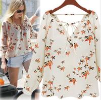 Hot!! Woman Blouse Chiffon Long Sleeve Blusa Chiffon V-Neck Print Camisa Chiffon White Shirt Women from M-XL