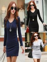 wholesale 30pcs autumn new large size women's Slim V-neck cotton dress sexy package hip dress via Express free shipping